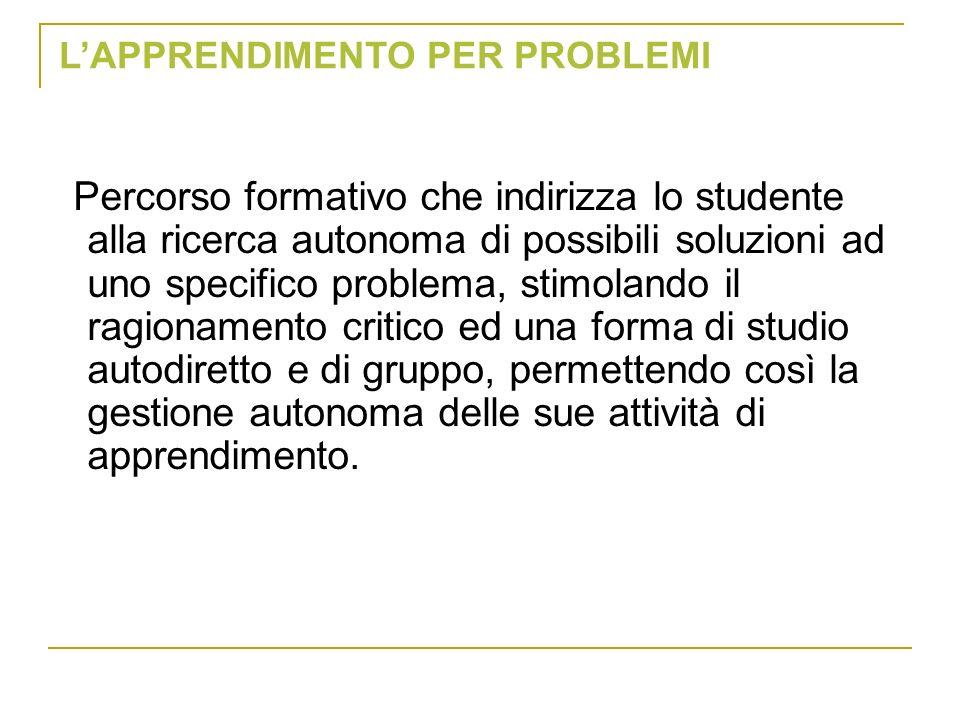 Percorso formativo che indirizza lo studente alla ricerca autonoma di possibili soluzioni ad uno specifico problema, stimolando il ragionamento critic