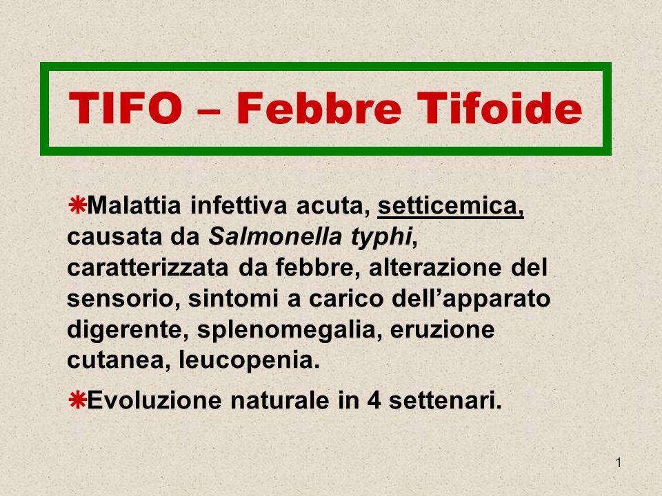 1 TIFO – Febbre Tifoide Malattia infettiva acuta, setticemica, causata da Salmonella typhi, caratterizzata da febbre, alterazione del sensorio, sintom