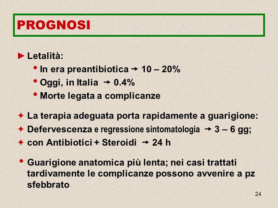 24 PROGNOSI Letalità: In era preantibiotica 10 – 20% Oggi, in Italia 0.4% Morte legata a complicanze La terapia adeguata porta rapidamente a guarigion