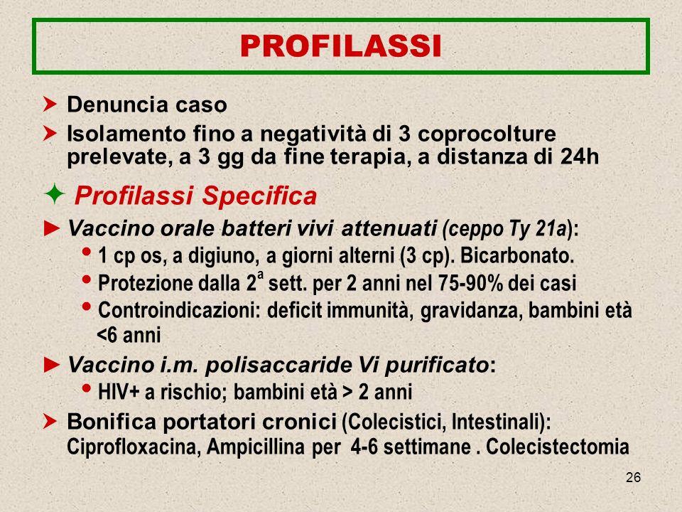 26 PROFILASSI Denuncia caso Isolamento fino a negatività di 3 coprocolture prelevate, a 3 gg da fine terapia, a distanza di 24h Profilassi Specifica V