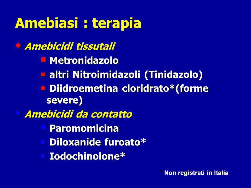 Amebiasi : terapia Amebicidi tissutali Amebicidi tissutali Metronidazolo Metronidazolo altri Nitroimidazoli (Tinidazolo) altri Nitroimidazoli (Tinidazolo) Diidroemetina cloridrato*(forme severe) Diidroemetina cloridrato*(forme severe) Amebicidi da contatto Amebicidi da contatto Paromomicina Paromomicina Diloxanide furoato* Diloxanide furoato* Iodochinolone* Iodochinolone* * Non registrati in Italia