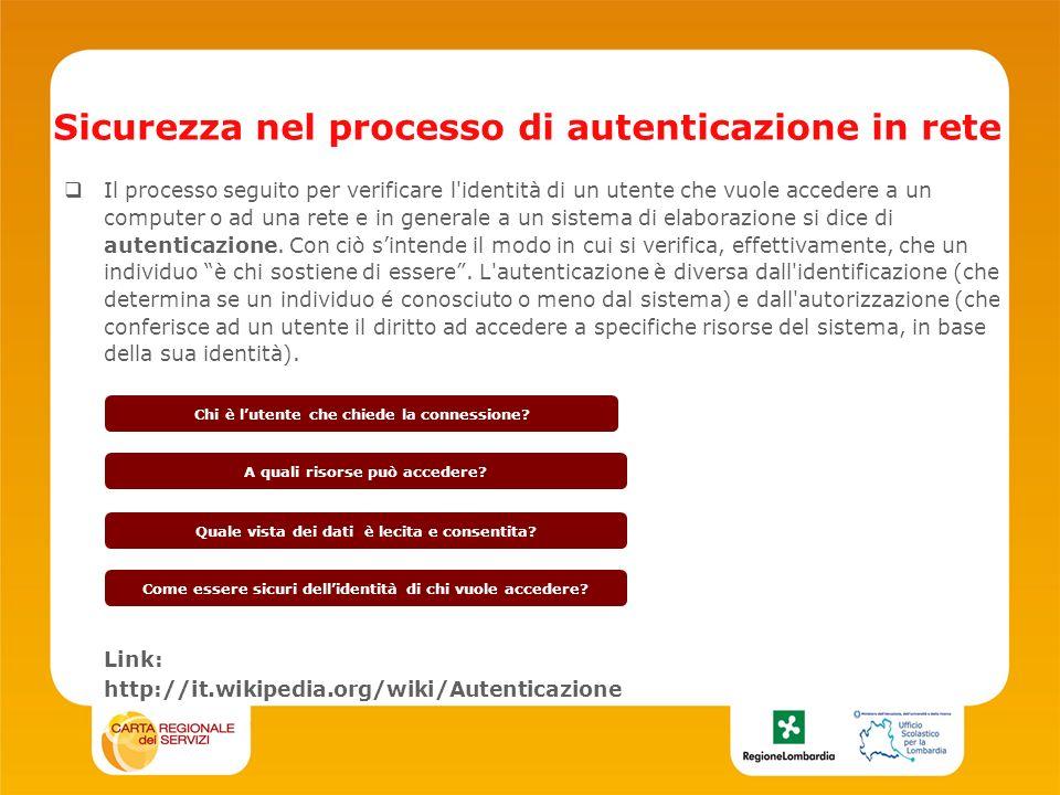 Sicurezza nel processo di autenticazione in rete Il processo seguito per verificare l identità di un utente che vuole accedere a un computer o ad una rete e in generale a un sistema di elaborazione si dice di autenticazione.