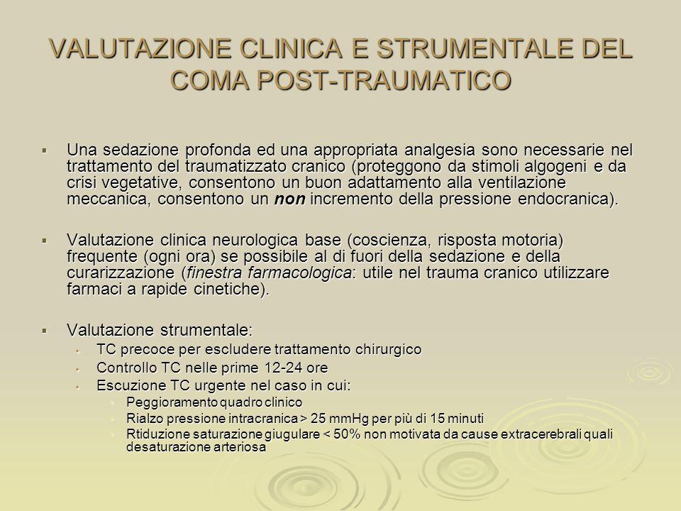 VALUTAZIONE CLINICA E STRUMENTALE DEL COMA POST-TRAUMATICO Una sedazione profonda ed una appropriata analgesia sono necessarie nel trattamento del tra