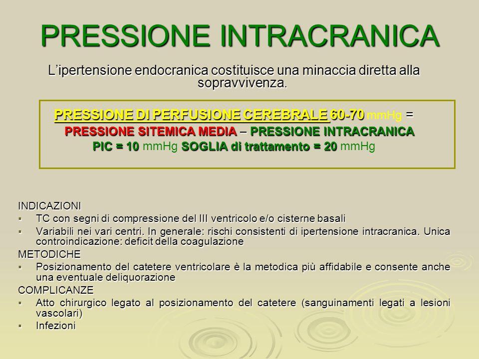 PRESSIONE INTRACRANICA Lipertensione endocranica costituisce una minaccia diretta alla sopravvivenza. PRESSIONE DI PERFUSIONE CEREBRALE 60-70 = PRESSI
