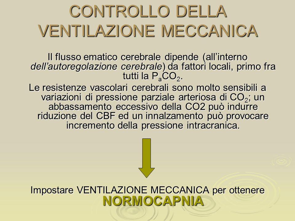 CONTROLLO DELLA VENTILAZIONE MECCANICA Il flusso ematico cerebrale dipende (allinterno dellautoregolazione cerebrale) da fattori locali, primo fra tut