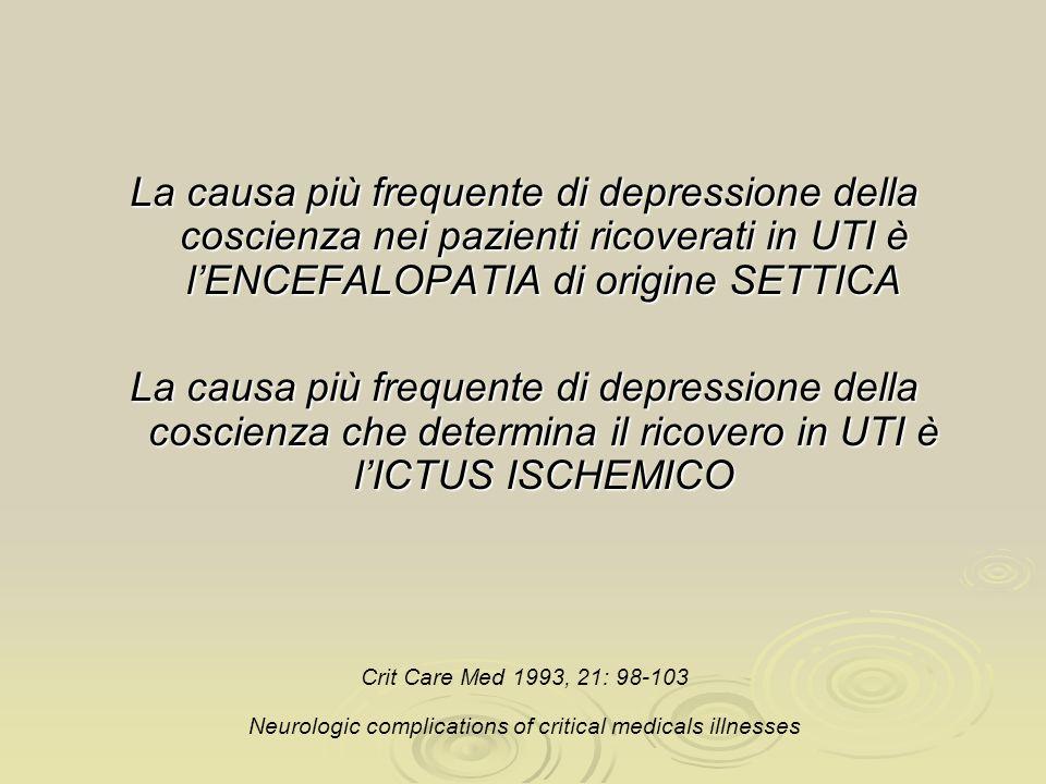 La causa più frequente di depressione della coscienza nei pazienti ricoverati in UTI è lENCEFALOPATIA di origine SETTICA La causa più frequente di dep