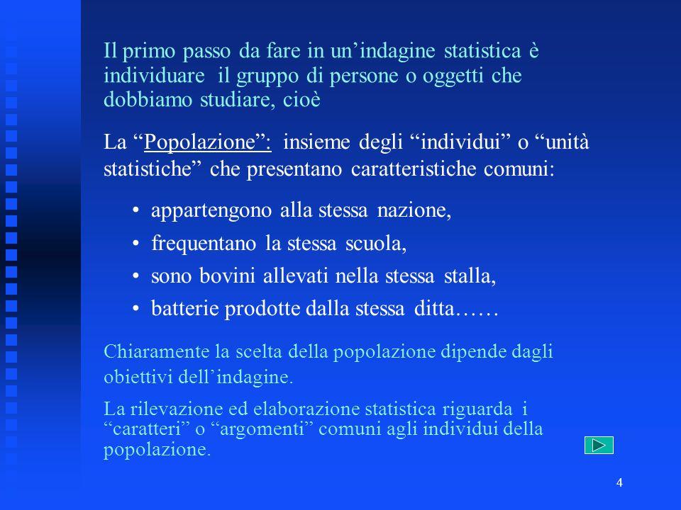 3 Statistica Statistica descrittiva la ricerca statistica viene fatta sullintera popolazione censimento della popolazione italiana rilevazione del gra