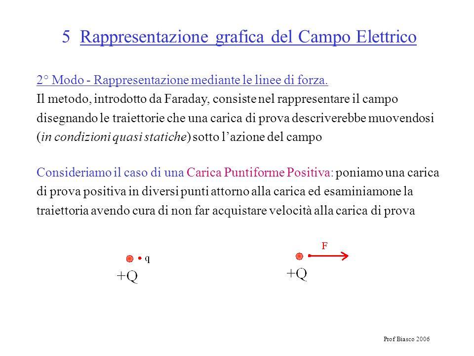 Prof Biasco 2006 5 Rappresentazione grafica del Campo Elettrico 2° Modo - Rappresentazione mediante le linee di forza. Il metodo, introdotto da Farada