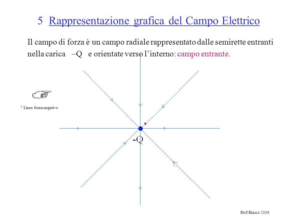 Prof Biasco 2006 5 Rappresentazione grafica del Campo Elettrico Il campo di forza è un campo radiale rappresentato dalle semirette entranti nella cari
