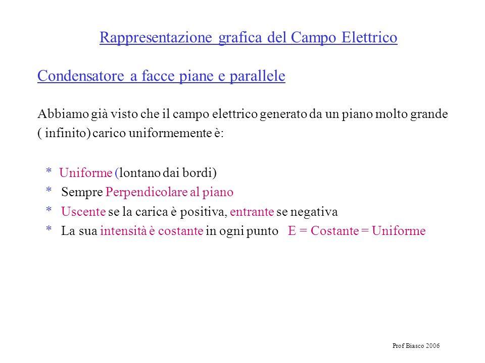 Prof Biasco 2006 Rappresentazione grafica del Campo Elettrico Abbiamo già visto che il campo elettrico generato da un piano molto grande ( infinito) c