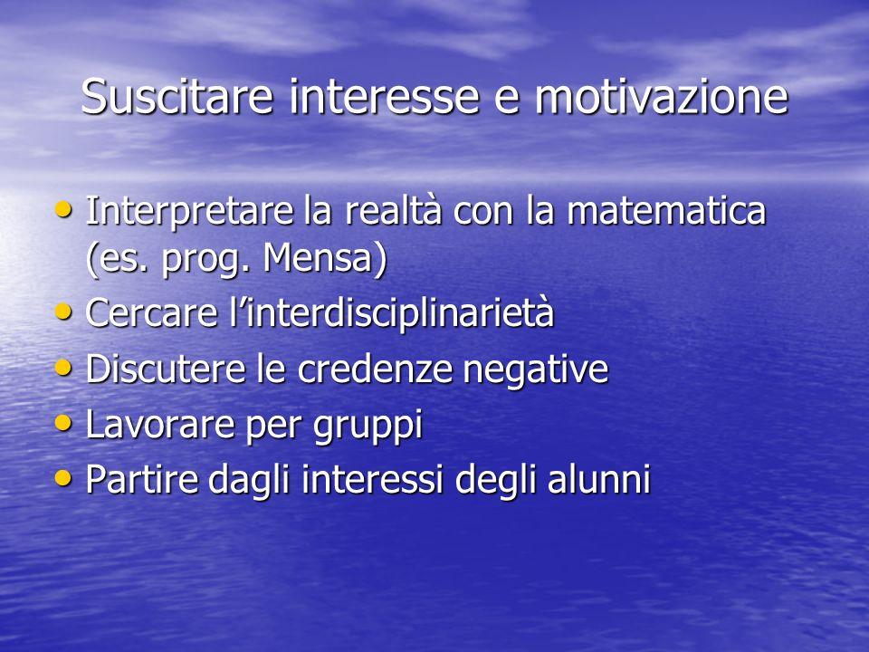 Suscitare interesse e motivazione Interpretare la realtà con la matematica (es. prog. Mensa) Interpretare la realtà con la matematica (es. prog. Mensa