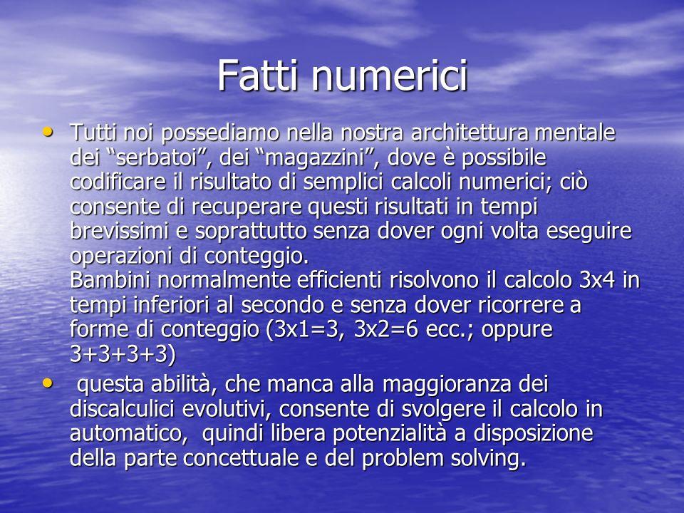 Fatti numerici Tutti noi possediamo nella nostra architettura mentale dei serbatoi, dei magazzini, dove è possibile codificare il risultato di semplic