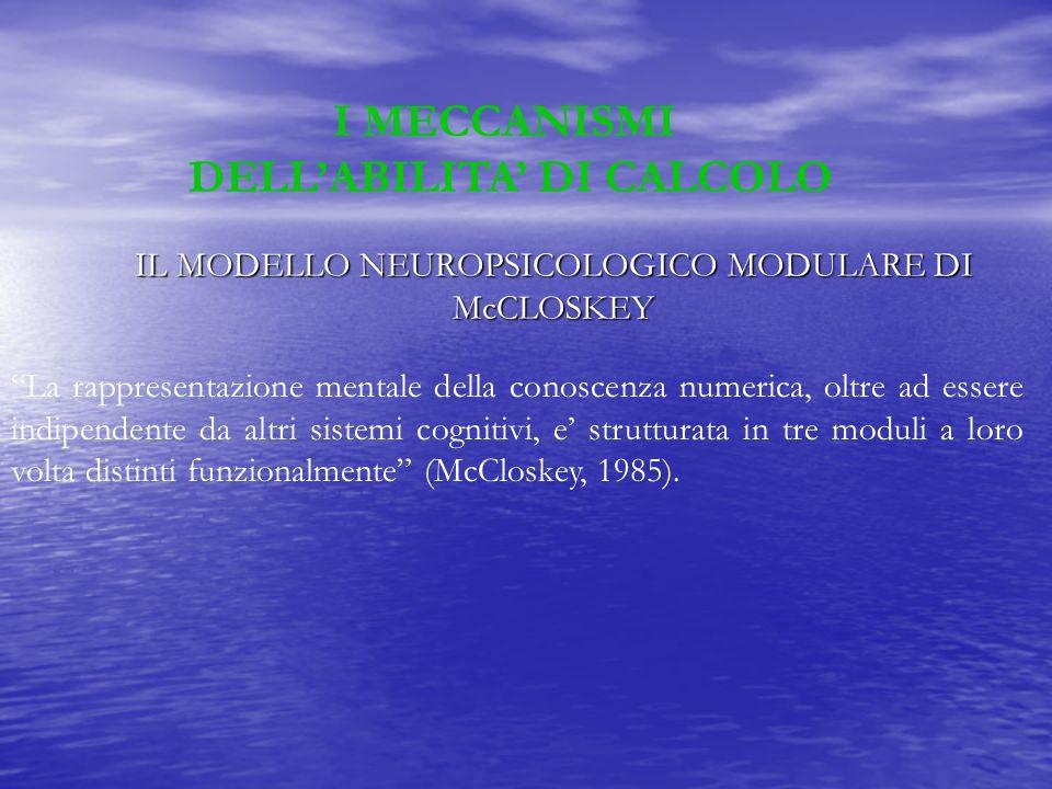 IL MODELLO NEUROPSICOLOGICO MODULARE DI McCLOSKEY La rappresentazione mentale della conoscenza numerica, oltre ad essere indipendente da altri sistemi