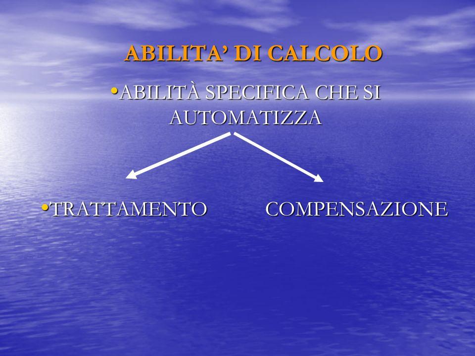 ABILITA DI CALCOLO ABILITÀ SPECIFICA CHE SI AUTOMATIZZA ABILITÀ SPECIFICA CHE SI AUTOMATIZZA TRATTAMENTO COMPENSAZIONE TRATTAMENTO COMPENSAZIONE