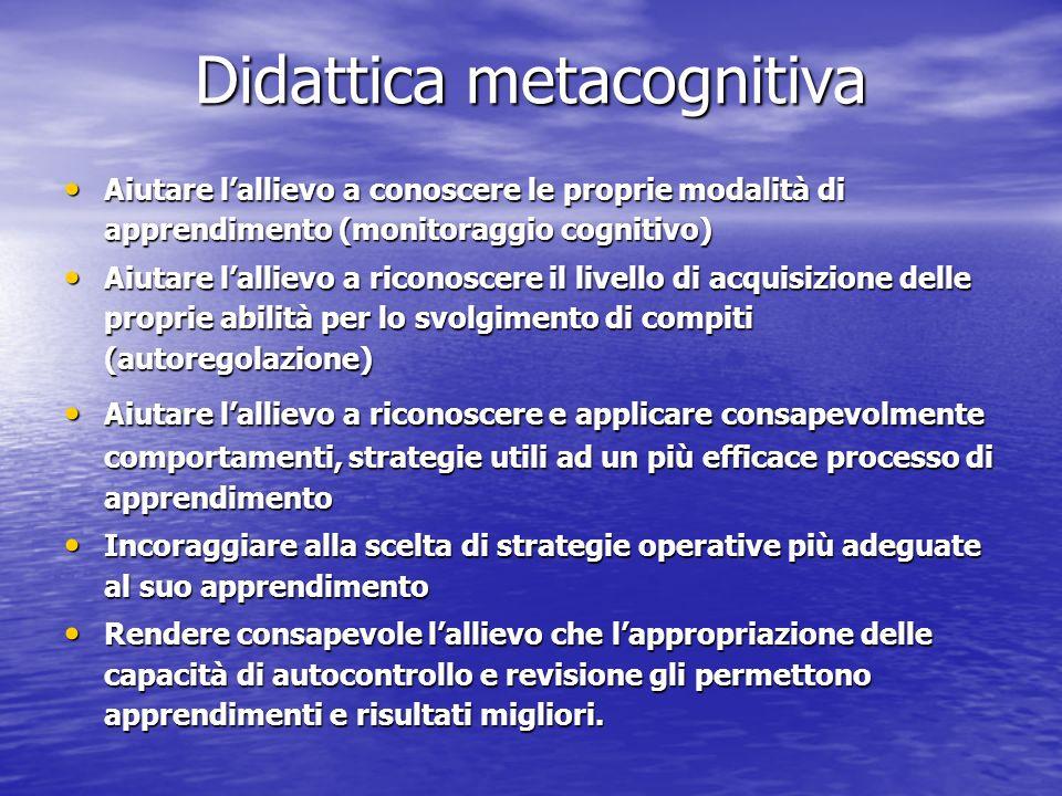 Didattica metacognitiva Aiutare lallievo a conoscere le proprie modalità di apprendimento (monitoraggio cognitivo) Aiutare lallievo a conoscere le pro