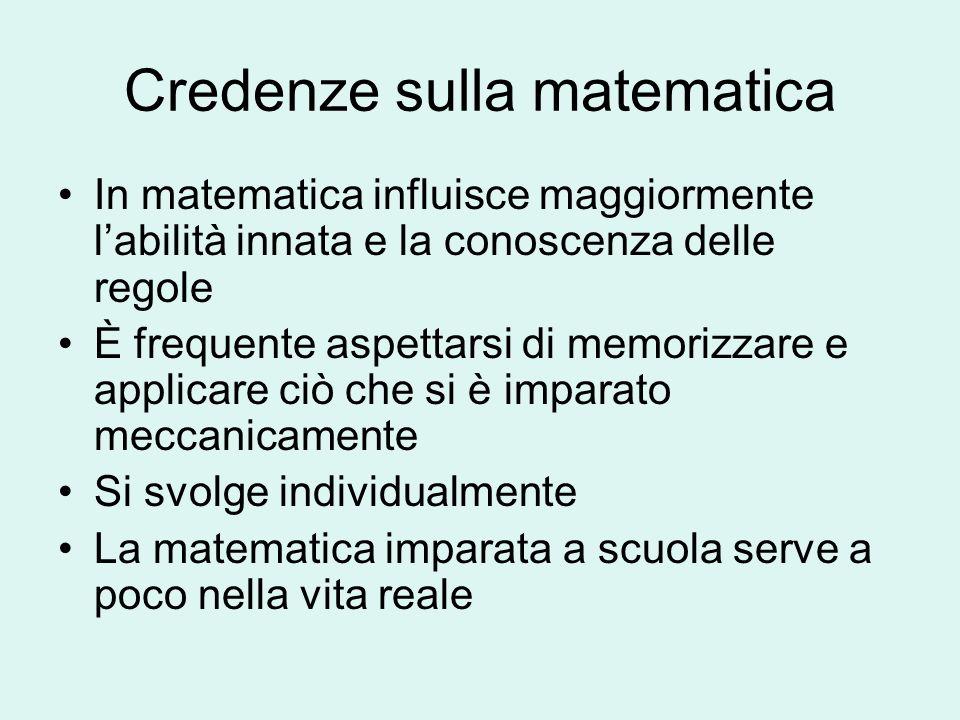 Credenze sulla matematica In matematica influisce maggiormente labilità innata e la conoscenza delle regole È frequente aspettarsi di memorizzare e ap