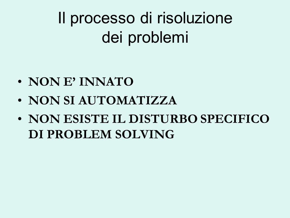 Il processo di risoluzione dei problemi NON E INNATO NON SI AUTOMATIZZA NON ESISTE IL DISTURBO SPECIFICO DI PROBLEM SOLVING