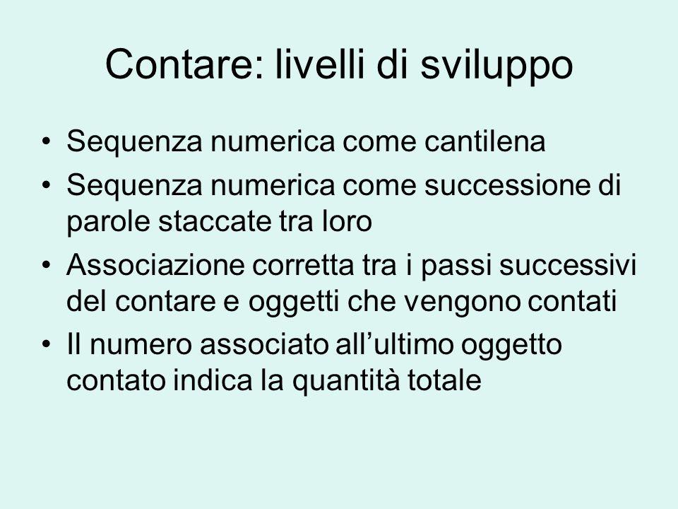 Contare: livelli di sviluppo Sequenza numerica come cantilena Sequenza numerica come successione di parole staccate tra loro Associazione corretta tra