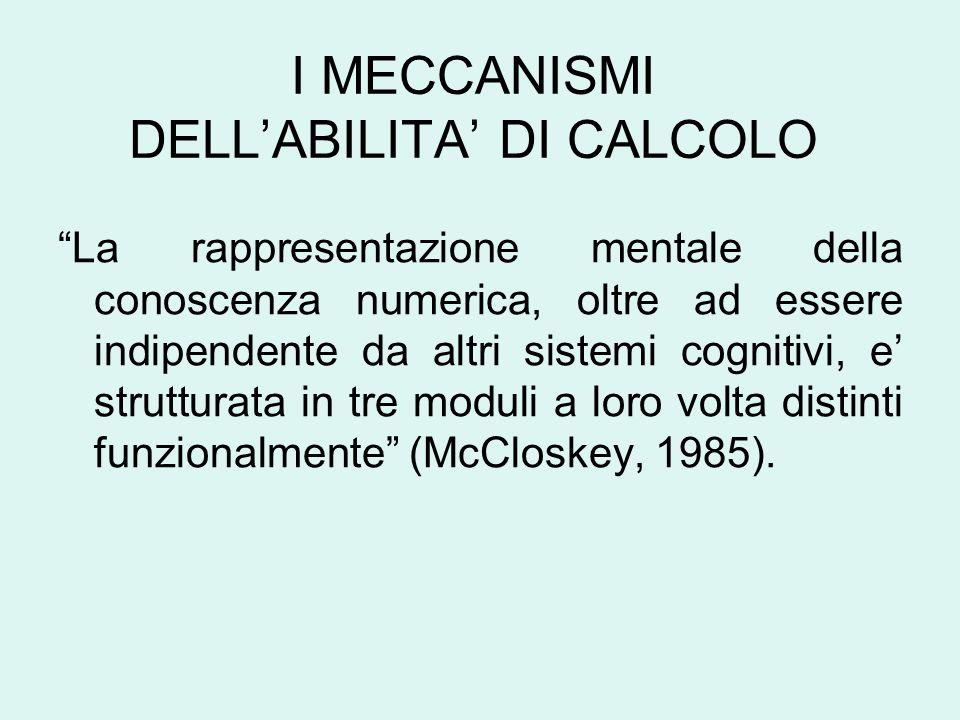 I MECCANISMI DELLABILITA DI CALCOLO La rappresentazione mentale della conoscenza numerica, oltre ad essere indipendente da altri sistemi cognitivi, e