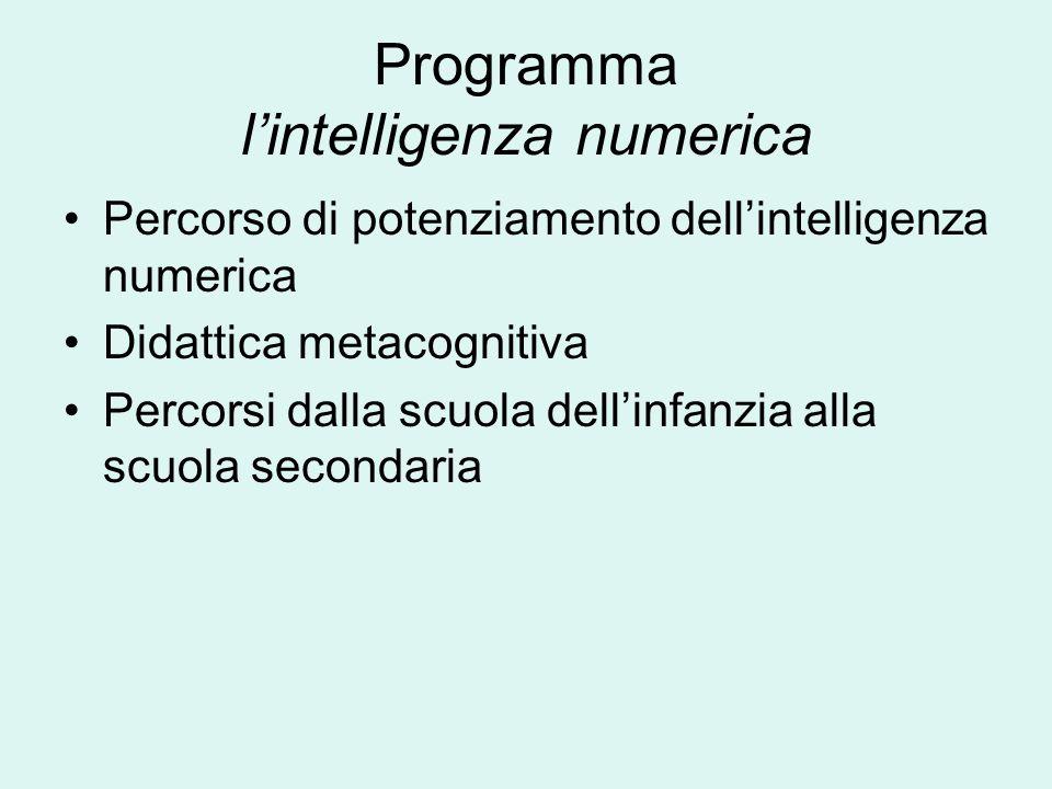 Programma lintelligenza numerica Percorso di potenziamento dellintelligenza numerica Didattica metacognitiva Percorsi dalla scuola dellinfanzia alla s