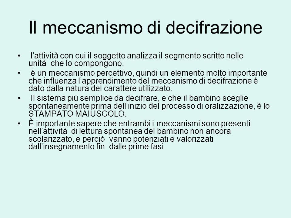 Il meccanismo di decifrazione lattività con cui il soggetto analizza il segmento scritto nelle unità che lo compongono. è un meccanismo percettivo, qu
