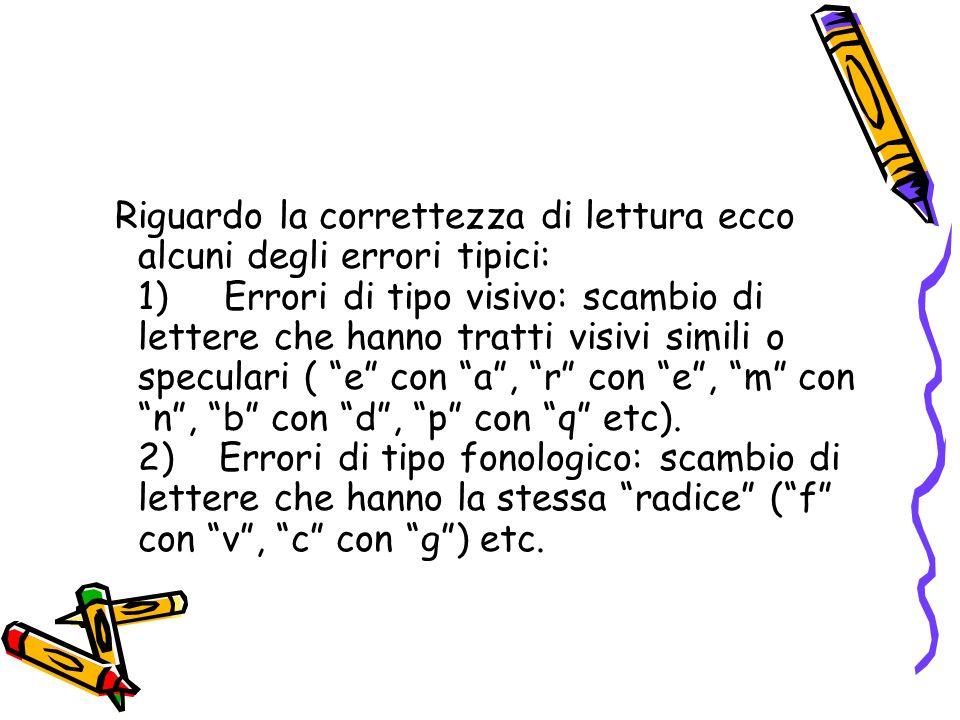 Riguardo la correttezza di lettura ecco alcuni degli errori tipici: 1) Errori di tipo visivo: scambio di lettere che hanno tratti visivi simili o spec