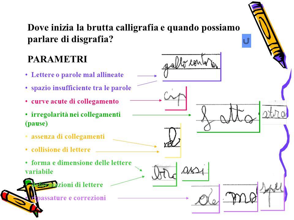 Dove inizia la brutta calligrafia e quando possiamo parlare di disgrafia? PARAMETRI Lettere o parole mal allineate spazio insufficiente tra le parole