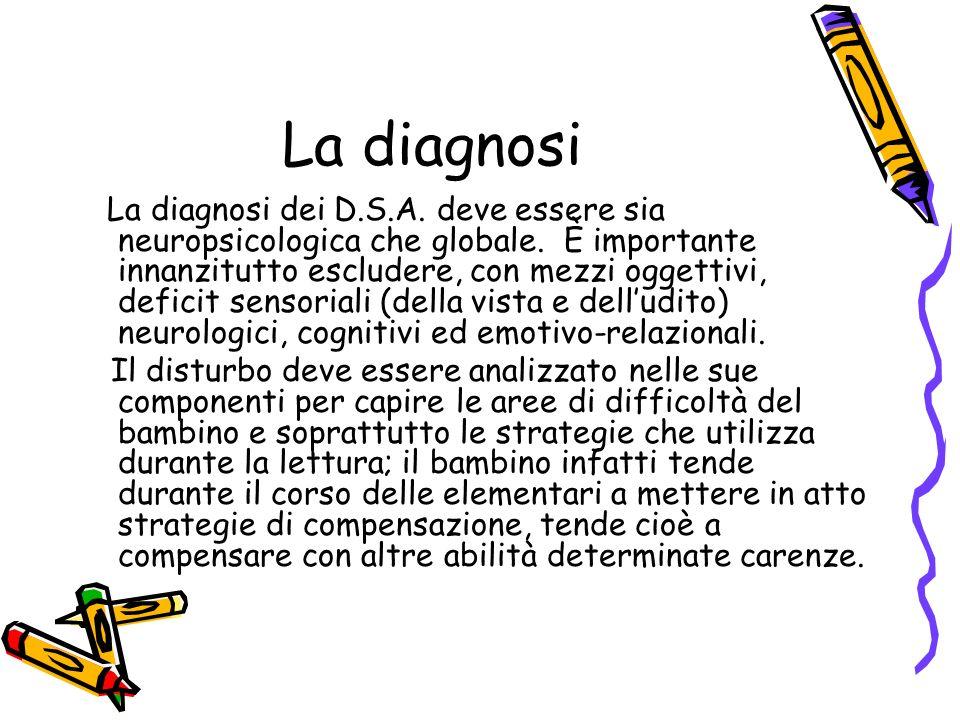 La diagnosi La diagnosi dei D.S.A. deve essere sia neuropsicologica che globale. È importante innanzitutto escludere, con mezzi oggettivi, deficit sen