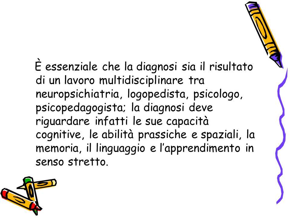 È essenziale che la diagnosi sia il risultato di un lavoro multidisciplinare tra neuropsichiatria, logopedista, psicologo, psicopedagogista; la diagno