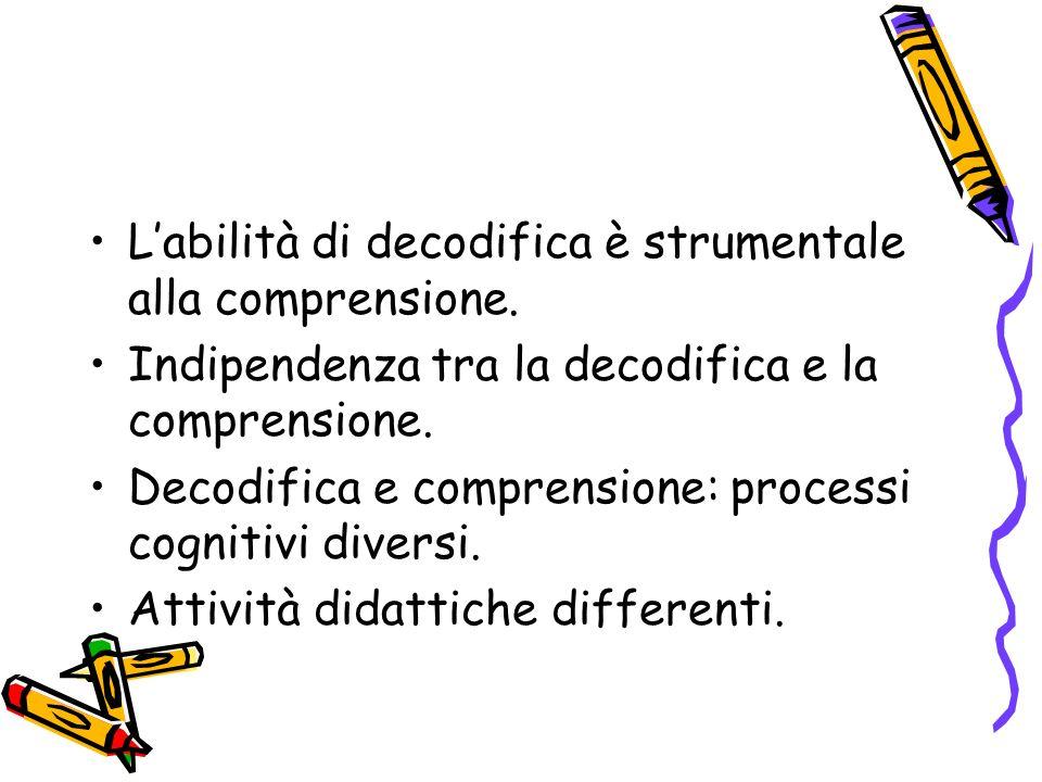 Labilità di decodifica è strumentale alla comprensione. Indipendenza tra la decodifica e la comprensione. Decodifica e comprensione: processi cognitiv