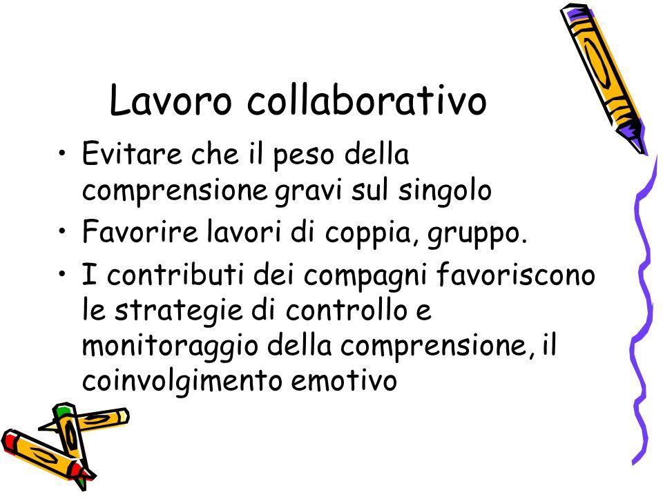 Lavoro collaborativo Evitare che il peso della comprensione gravi sul singolo Favorire lavori di coppia, gruppo. I contributi dei compagni favoriscono