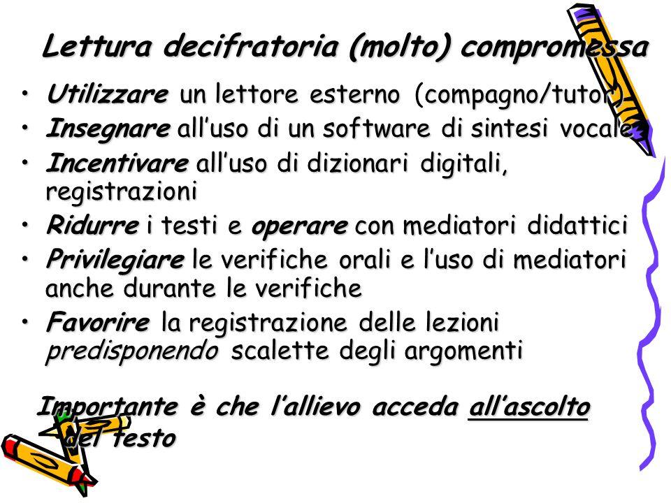 Utilizzare un lettore esterno compagno/tutor)Utilizzare un lettore esterno (compagno/tutor) Insegnare alluso di un software di sintesi vocaleInsegnare