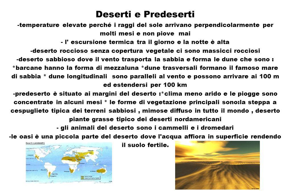 Deserti e Predeserti -temperature elevate perché i raggi del sole arrivano perpendicolarmente per molti mesi e non piove mai - l' escursione termica t