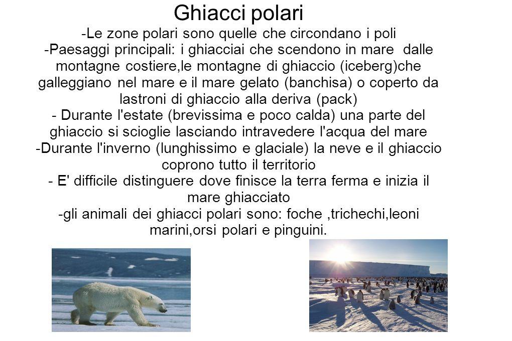 Ghiacci polari -Le zone polari sono quelle che circondano i poli -Paesaggi principali: i ghiacciai che scendono in mare dalle montagne costiere,le mon