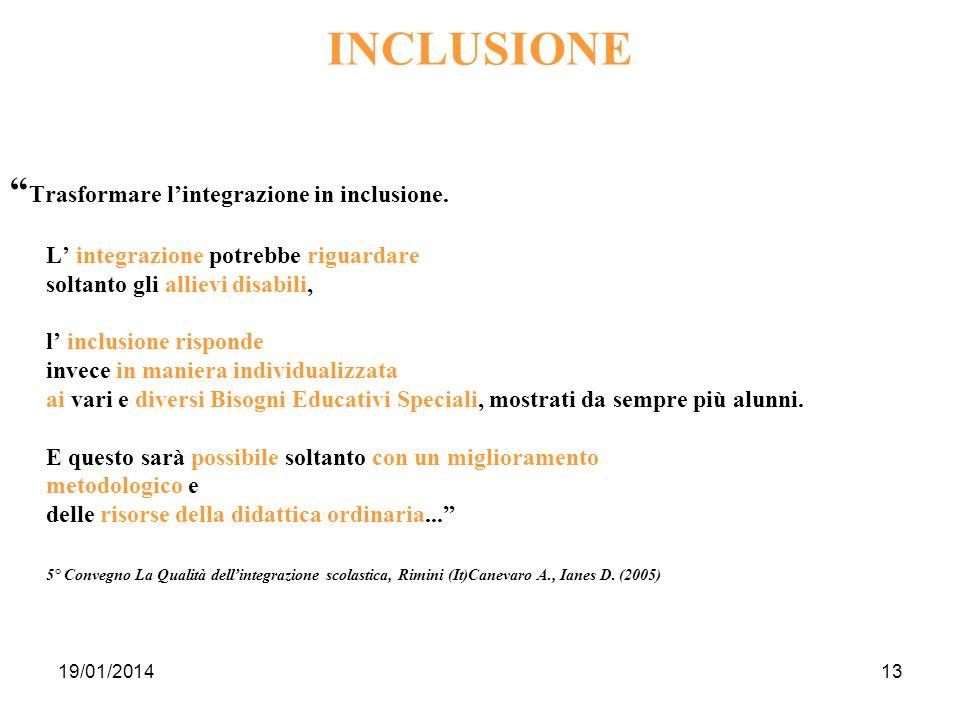 19/01/201413 INCLUSIONE Trasformare lintegrazione in inclusione. L integrazione potrebbe riguardare soltanto gli allievi disabili, l inclusione rispon