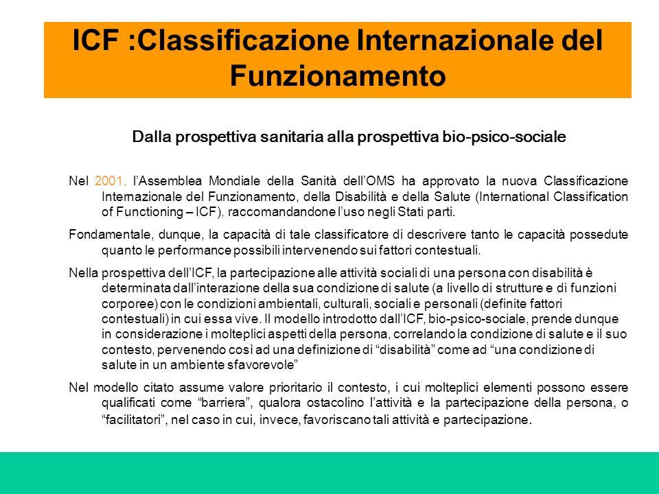 ICF :Classificazione Internazionale del Funzionamento Dalla prospettiva sanitaria alla prospettiva bio-psico-sociale Nel 2001, lAssemblea Mondiale del
