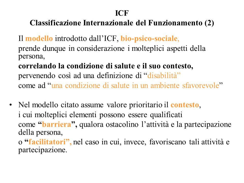 ICF Classificazione Internazionale del Funzionamento (2) Il modello introdotto dallICF, bio-psico-sociale, prende dunque in considerazione i molteplic