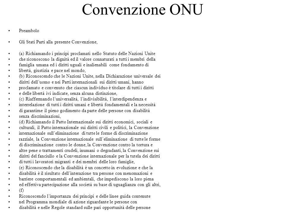 Convenzione ONU Preambolo Gli Stati Parti alla presente Convenzione, (a) Richiamando i principi proclamati nello Statuto delle Nazioni Unite che ricon