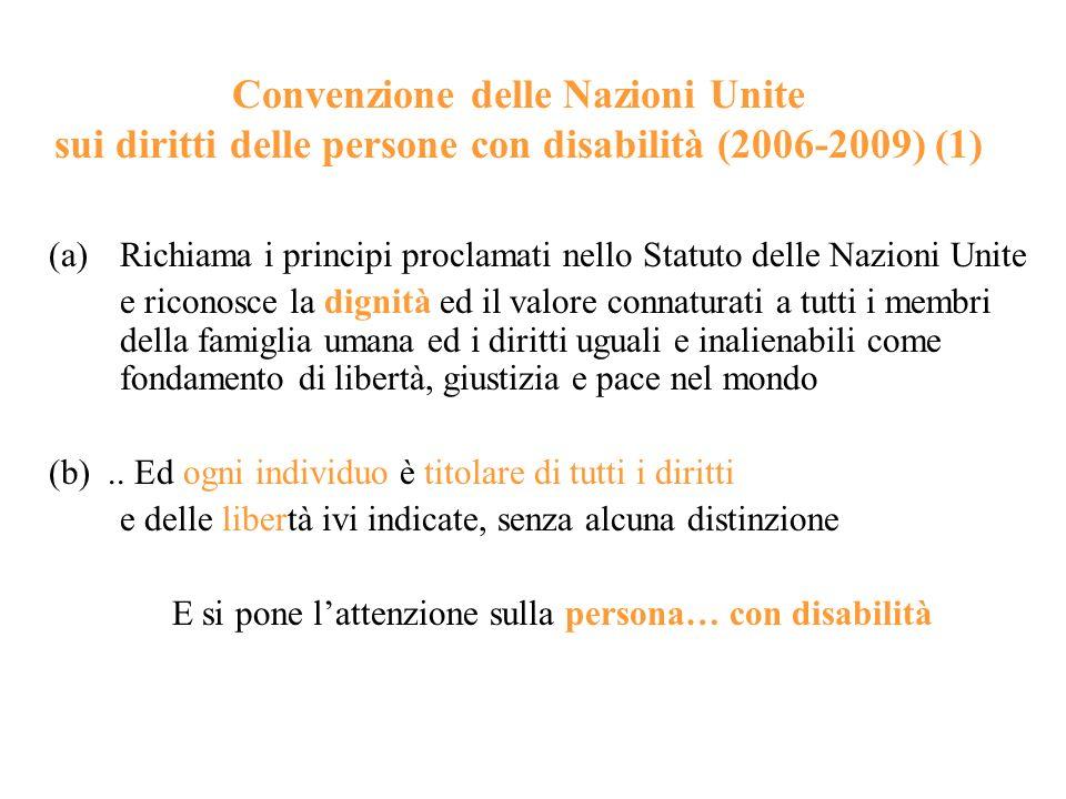 Convenzione delle Nazioni Unite sui diritti delle persone con disabilità (2006-2009) (1) (a)Richiama i principi proclamati nello Statuto delle Nazioni