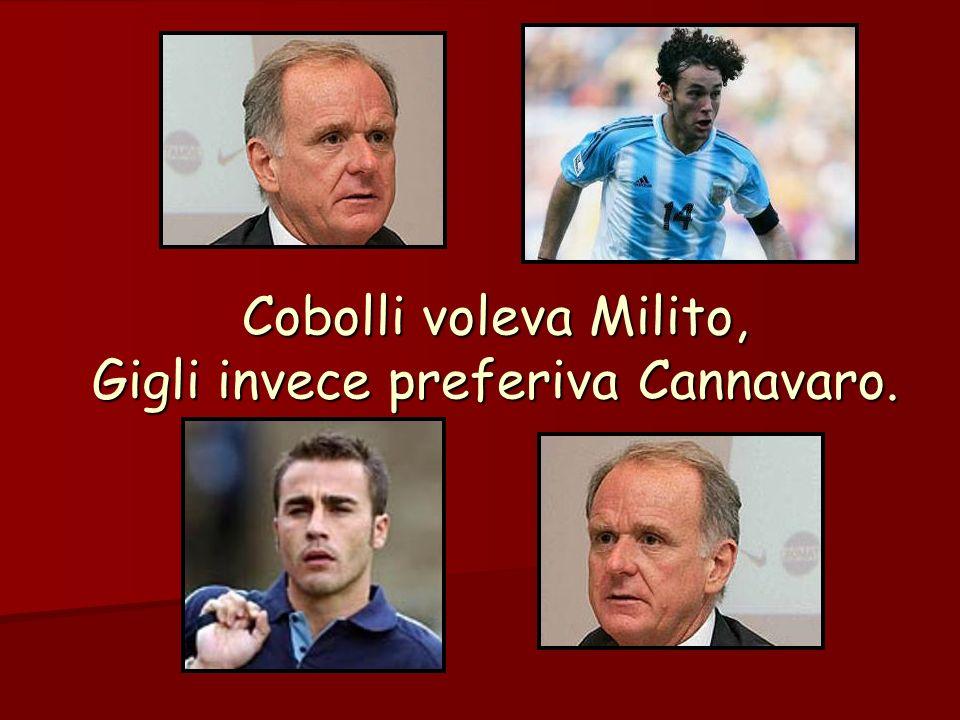 Cobolli voleva Milito, Gigli invece preferiva Cannavaro.