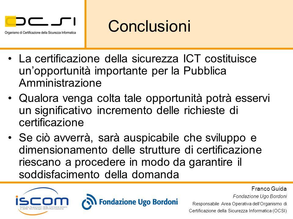 Franco Guida Fondazione Ugo Bordoni Responsabile Area Operativa dellOrganismo di Certificazione della Sicurezza Informatica (OCSI) Conclusioni La cert
