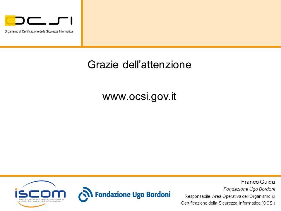 Franco Guida Fondazione Ugo Bordoni Responsabile Area Operativa dellOrganismo di Certificazione della Sicurezza Informatica (OCSI) Grazie dellattenzio