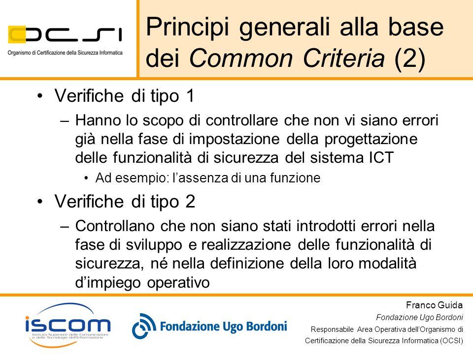 Franco Guida Fondazione Ugo Bordoni Responsabile Area Operativa dellOrganismo di Certificazione della Sicurezza Informatica (OCSI) Principi generali a