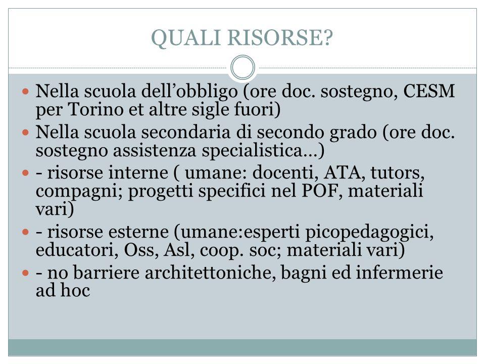 QUALI RISORSE? Nella scuola dellobbligo (ore doc. sostegno, CESM per Torino et altre sigle fuori) Nella scuola secondaria di secondo grado (ore doc. s