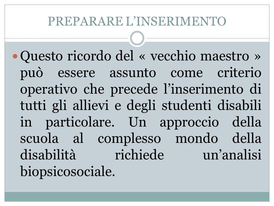 PREPARARE LINSERIMENTO Questo ricordo del « vecchio maestro » può essere assunto come criterio operativo che precede linserimento di tutti gli allievi
