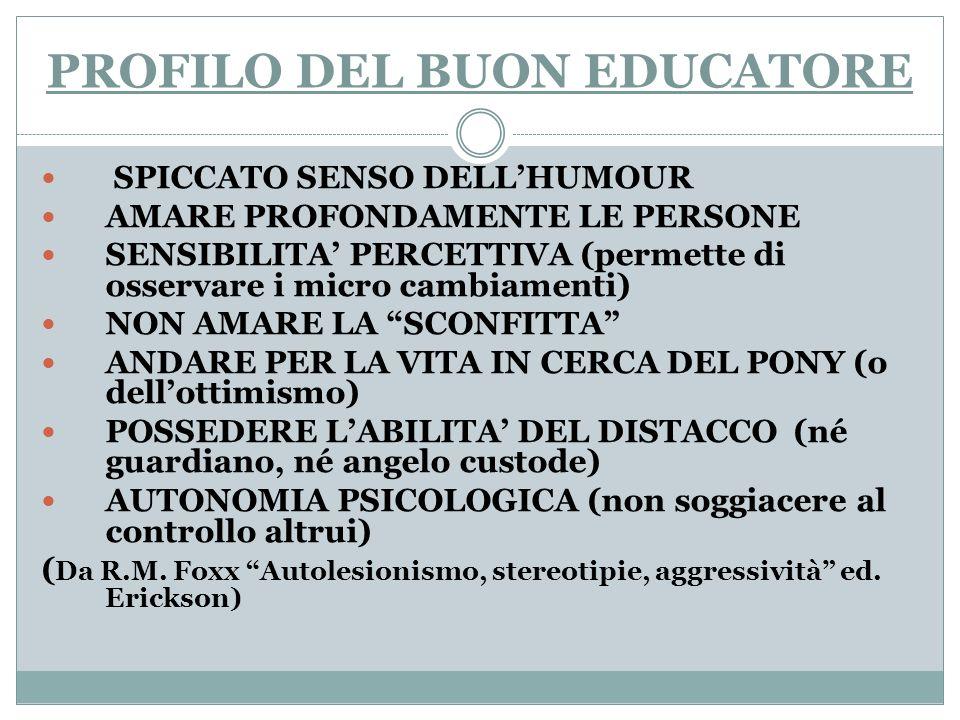 PROFILO DEL BUON EDUCATORE SPICCATO SENSO DELLHUMOUR AMARE PROFONDAMENTE LE PERSONE SENSIBILITA PERCETTIVA (permette di osservare i micro cambiamenti)
