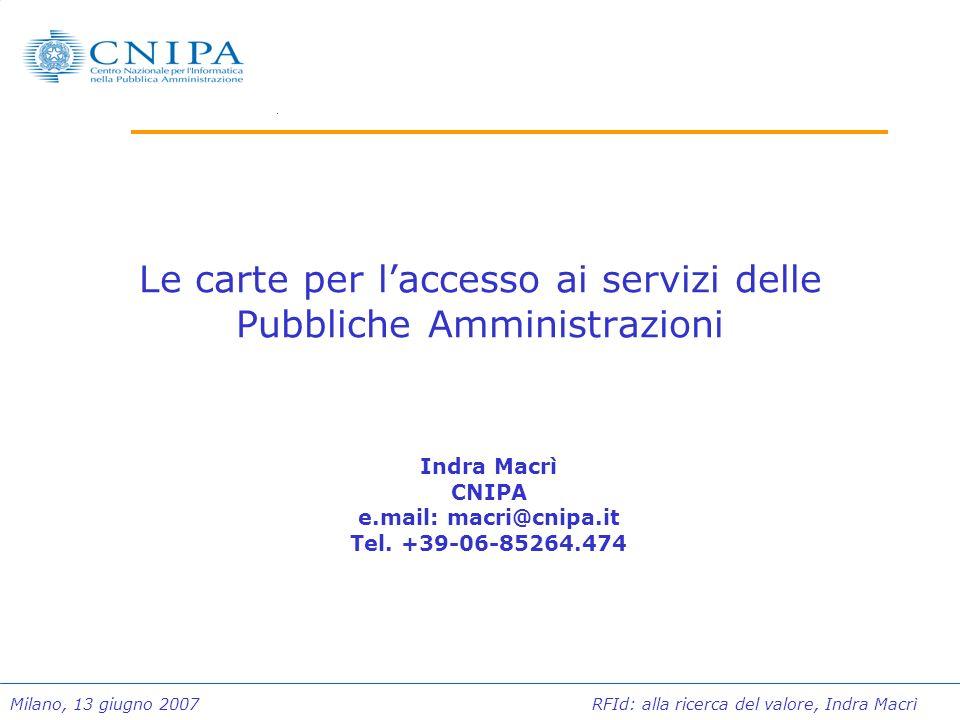 Milano, 13 giugno 2007 RFId: alla ricerca del valore, Indra Macrì Le carte per laccesso ai servizi delle Pubbliche Amministrazioni Indra Macrì CNIPA e