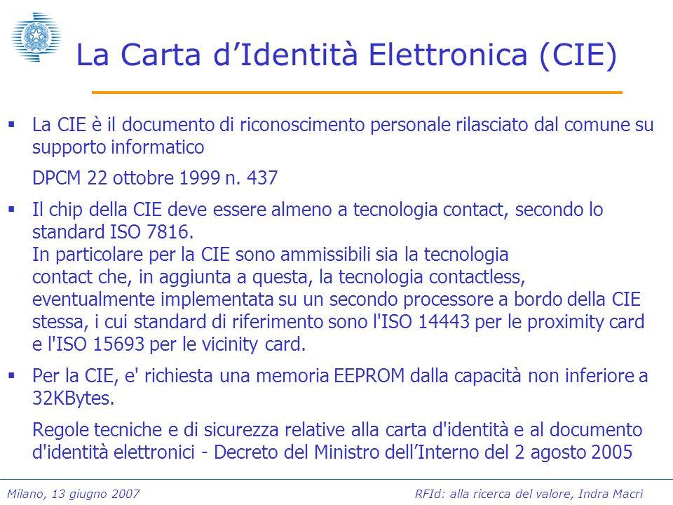 Milano, 13 giugno 2007 RFId: alla ricerca del valore, Indra Macrì La Carta dIdentità Elettronica (CIE) La CIE è il documento di riconoscimento persona