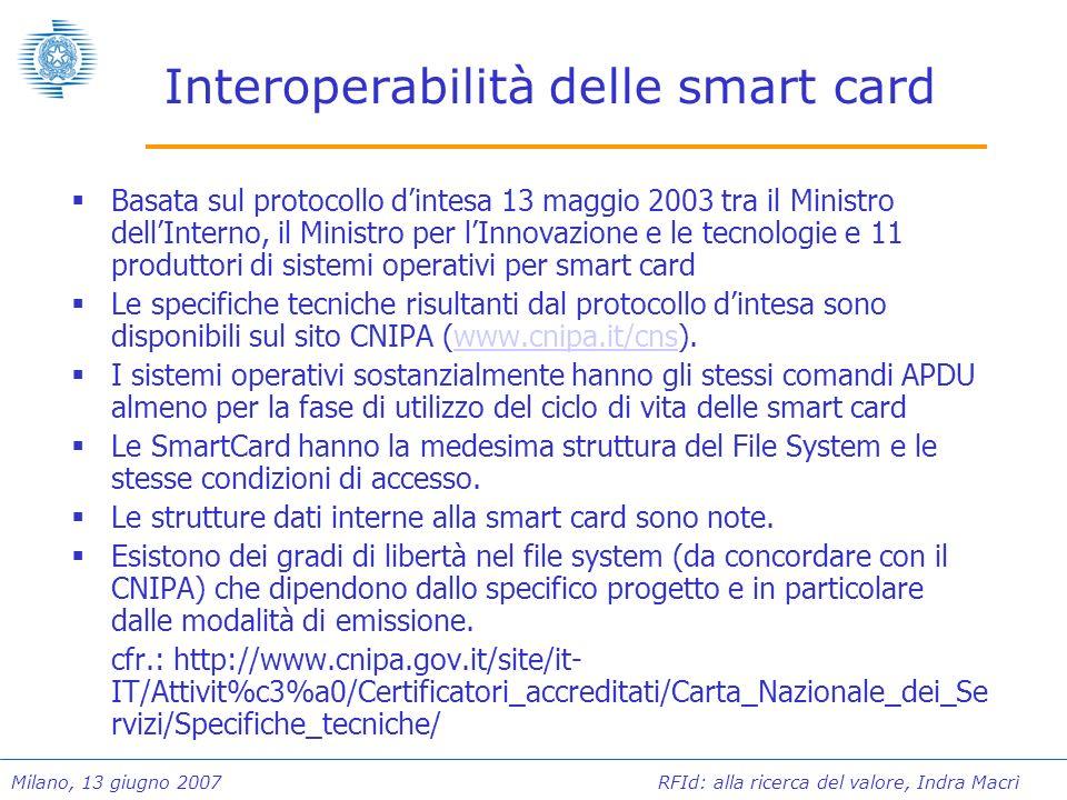 Milano, 13 giugno 2007 RFId: alla ricerca del valore, Indra Macrì Interoperabilità delle smart card Basata sul protocollo dintesa 13 maggio 2003 tra i