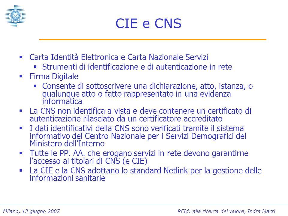 Milano, 13 giugno 2007 RFId: alla ricerca del valore, Indra Macrì Qualche numero Oltre due milioni di CIE inserite nel circuito di emissione della seconda parte della sperimentazione Le carte per la firma digitale sono circa 2.700.000 delle quali oltre 250.000 sono CNS Ente emettitoreNumeroTessera sanitaria Regione Lombardia9.300.000si Regione Sicilia4.300.000si Regione Friuli VG1.100.000si Altre regioni420.000- Infocamere330.000no Amministrazioni centrali30.000no Comuni28.000no TOTALE15.508.000